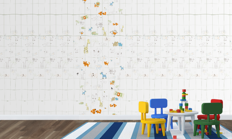 Kinderzimmer Wandestaltung Ausmaltapete: Hier dürfen die KInder kreativ sein