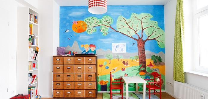 Kinderzimmer, dass darf Farbe, Motive haben. Ein Kinderzimmer muss einladen zum träumen, spielen, schlafen, entspannen