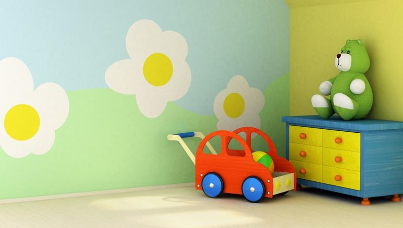 Besonders einladend wirkt es, wenn Sie eine bunte Blumenwiese im Kinderzimmer gestalten.